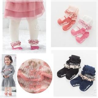 【橘魔法】針織荷葉可愛褲襪 有字體防滑膠(Baby magic 兒童褲襪 童裝 女童 小童)