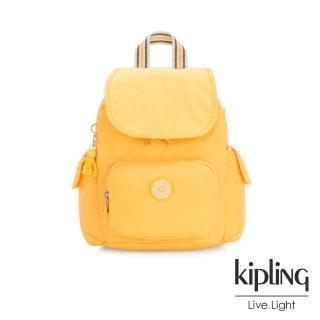 【KIPLING】冒險活力黃拉鍊掀蓋後背包-CITY PACK MINI