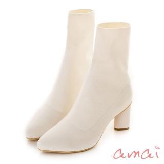 【amai】韓妞超彈力針織襪靴(白)