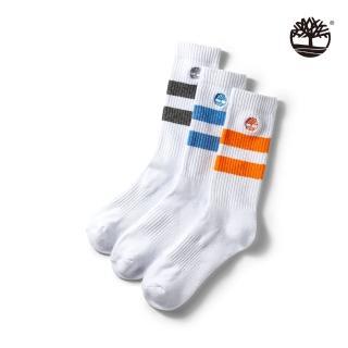 【Timberland】中性白色條紋三件組長襪(A1EYQ100)