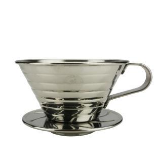 【Tiamo】K02不鏽鋼濾杯組附量匙滴水盤-鏡光款(HG5050MR)