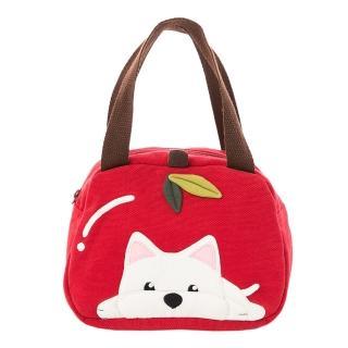 【KIRO 貓】高地白梗 狗狗 蘋果造型 拼布包 手提包/野餐便當袋(810057)