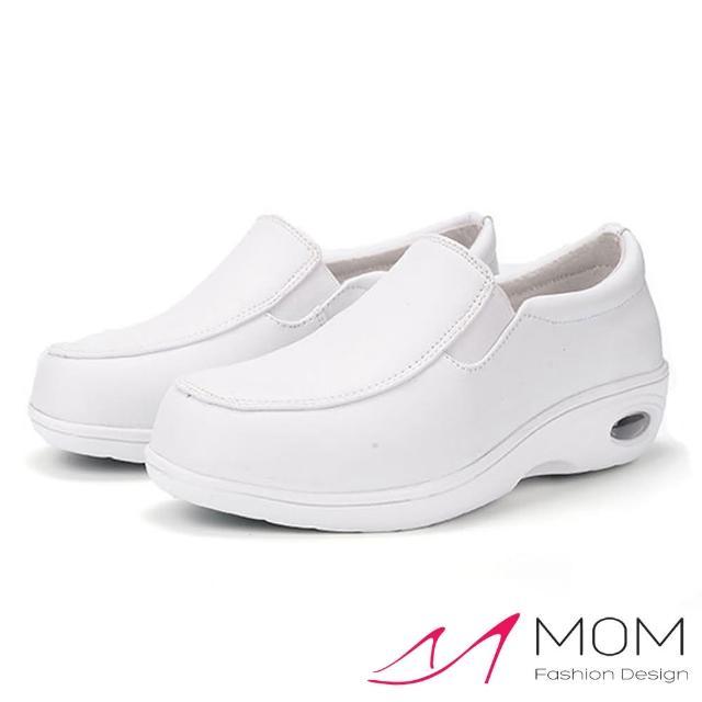 【MOM】內真皮素面白色樂福防滑氣墊機能護士鞋(白)/