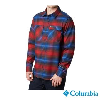 【Columbia 哥倫比亞】男款- 防曬50快排襯衫-暗紅(UAE02130WE / 排汗.防曬.機能)