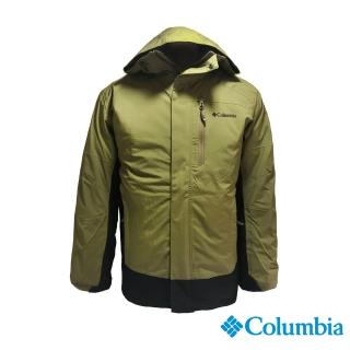 【Columbia 哥倫比亞】男款-Omni-TECH 防水鋁點保暖兩件式羽絨外套-軍綠(UWM09000AG / 機能.防水.發熱)