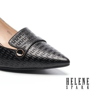 【HELENE SPARK】滴油圓釦繫帶造型全羊皮樂福高跟鞋(黑)