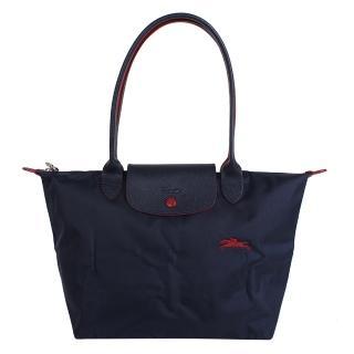 【LONGCHAMP】LE PLIAGE小馬logo長把尼龍手提包(深藍/S)