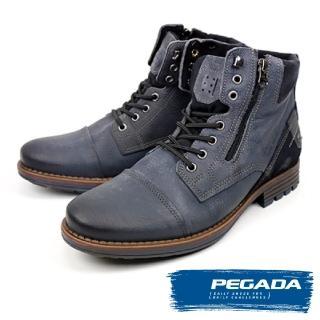 【PEGADA】巴西名品牛皮拉鍊中筒靴(藍灰色 180781-BU)
