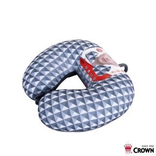 【CROWN 皇冠】旅行紓壓頸枕 鐵灰鑽石色 耐用顆粒(旅行頸枕 護頸枕 軟骨頭)