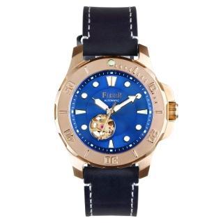 【FIBER 法柏】海洋潛將系列 機械潛水錶 鏤空玫瑰金x藍