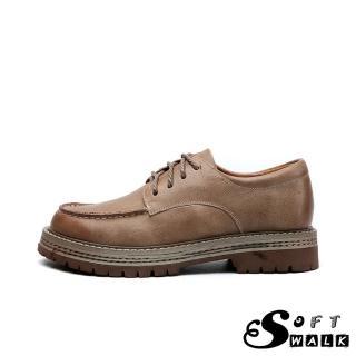 【SOFT WALK 舒步】全真皮頭層牛皮英倫風手工縫線經典防水台粗跟百搭牛津鞋(卡其)