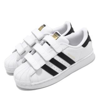 【adidas 愛迪達】休閒鞋 Superstar CF C 魔鬼氈 童鞋 愛迪達 三葉草 貝殼頭 金標 中童 白 黑(EF4838)