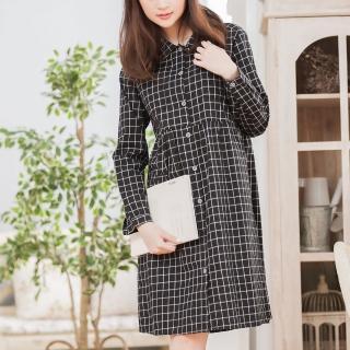 【ACheter】日系文藝小清新質感格紋洋裝101086現貨(黑)
