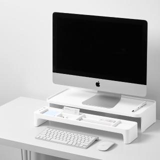 【LITEM 里特】螢幕架&桌上收納組/白(鍵盤架/文具收納/置物架/電腦架/桌上收納架)