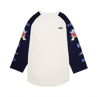 【asics 亞瑟士】T恤 Jersey 3/4 Sleeve T 男款 亞瑟士 橫須賀 東京 日本風格 富士山 白 藍(2191A216100)