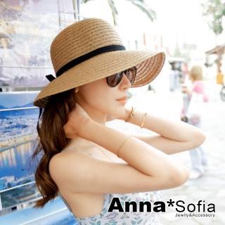 【AnnaSofia】遮陽防曬淑女帽草帽漁夫帽-緞帶黑結 寬簷(駝系)