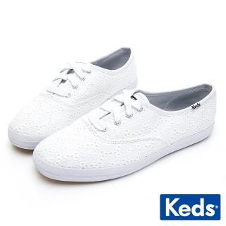 【Keds】CHAMPION 刺繡雛菊綁帶休閒鞋(白)