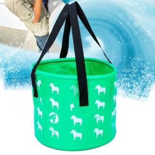 【E.City】戶外可折疊小馬圖案露營加厚手提水桶釣魚桶