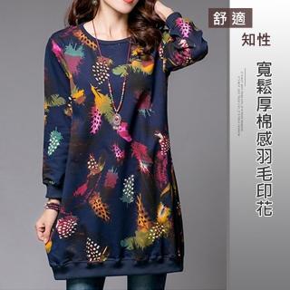 【ACheter】寬鬆厚棉感羽毛印花洋裝106106現貨(深藍)