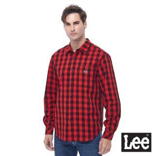 【Lee】格紋長袖休閒襯衫 紅(男長袖襯衫)