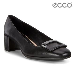 【ecco】SHAPE 35 SQUARED 氣質方頭高跟鞋 女(黑 29053301001)