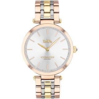 【COACH】經典馬車水晶腕錶-33mm/淡金(14503509)