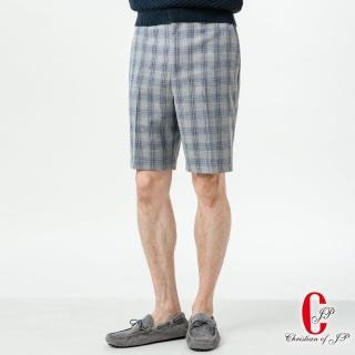 【JYI PIN 極品名店】簡約悠活休閒短褲_灰藍格(CS801-1)