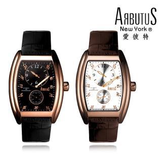 【ARBUTUS 愛彼特】酒桶型雙眼玫瑰金機械錶 AR0067