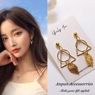 【Anpan】925銀針韓南大門氣質浪漫三角葉圈夾式 耳環