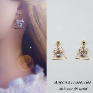 【Anpan】韓國南大門氣質雪梅粉櫻環圈925銀針式耳環