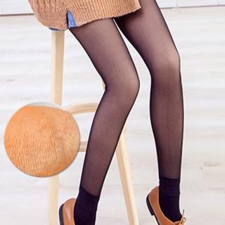 【Threeshape】韓國光腿神器假透膚超顯瘦厚絨踩腳襪(黑透膚)