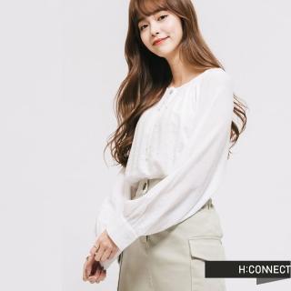 【H:CONNECT】韓國品牌 女裝 -輕甜綁結造型上衣(白色)