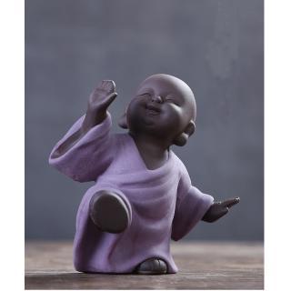 【原藝坊】紫砂陶瓷 歡欣鼓舞 小沙彌擺飾(歡 小和尚)
