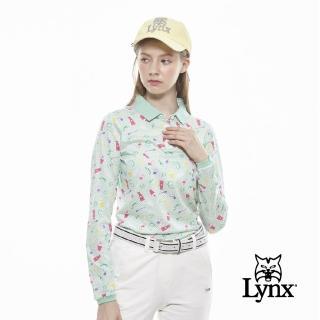 【Lynx Golf】女款純棉雙絲光繽紛彩妝品印花長袖POLO衫(薄荷綠色)