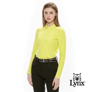 【Lynx Golf】女款負離子保暖背刷毛長袖POLO衫(黃綠色)