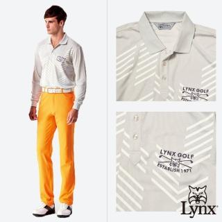 【Lynx Golf】男款吸濕排汗網眼材質不規則條紋長袖POLO衫(淺灰色)