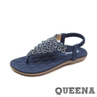 【QUEENA】波希米亞民族風立體美鑽平底舒適羅馬涼鞋(藏青)