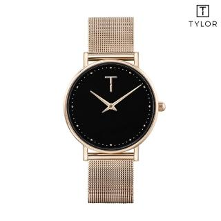 【TYLOR】黑面玫瑰金框米蘭帶錶(TLAF008)