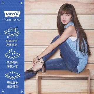 【LEVIS】女款 721 高腰緊身窄管彈性牛仔褲 / Cool Jeans涼爽舒適 / 深藍刷白 / 及踝款-熱銷單品