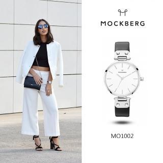 【MOCKBERG】瑞典品牌 34MM-白面白鋼黑色皮革錶(MO1002)