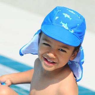 【德國Playshoes】嬰兒童抗UV防曬水陸兩用遮頸帽-鯊魚(護頸遮脖遮陽帽泳帽)