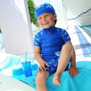 【德國Playshoes】抗UV防曬短袖兩件組兒童泳裝-鯊魚(認證UPF50 泳衣+泳褲)