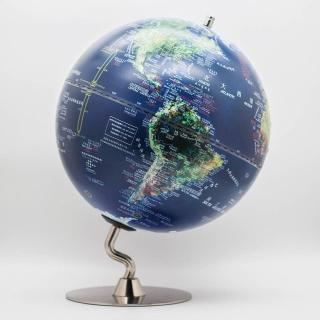 【SkyGlobe】12吋衛星觸控鋰電池N型金屬底座地球儀(中英文對照)