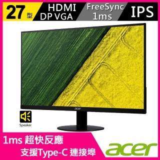 【2入組】Acer 27型 IPS 廣視角 1ms 支援Type-C 及 HDMI介面 內建喇叭 超薄窄邊框螢幕(SA270 B)