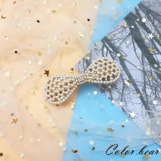 【卡樂熊】韓版氣質甜美珍珠造型彈簧夾/髮夾(蝶結)
