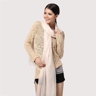 【ZANA】100%cashmere 200支紗白山羊絨超大規格頂級戒指絨 羔羊絨披肩 圍巾(2款任選)