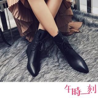 【午時一刻】復古尖頭時尚版型綁帶粗跟馬丁靴(黑)