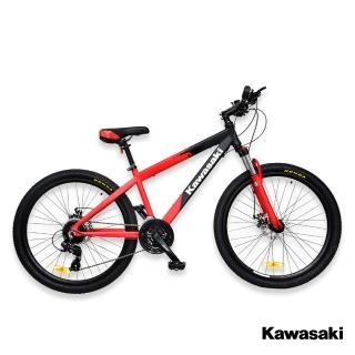 【Kawasaki】26吋24速SHIMANO雙碟煞鋁合金避震登山車(顏色任選)