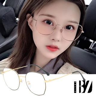 【BeLiz】多角圓框*雙色細金屬平光眼鏡/黑金/