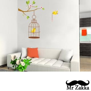 【Mr.Zakka】時尚居家創意風格DIY可移式壁貼(彩色鳥籠)